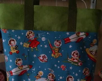 Childrens Library Tote Bag Retro Rocket Library Bag Preschool Bag