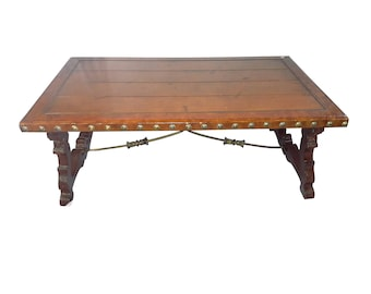 Quick View. Vintage Spanish Style Trestle Coffee Table ...
