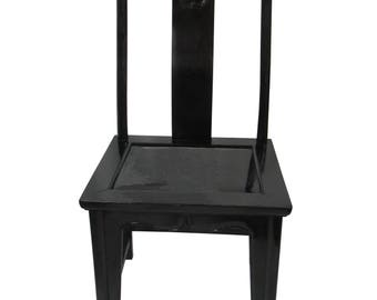 Black Lacquered Chinese Elm Chair Vintage Chinese Officers Hat Chair Gloss  Black Asian Elm Wood Black Side Accent Chair