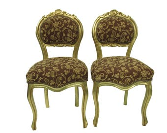 Pair French Gilt Chairs Louis XVI Gold Upholstered Paris Apartment Chairs  French Carved Gilt Rococo Chairs French Dining Boudoir Chairs