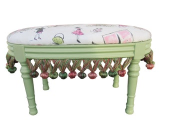 Paris Footstool  Vintage French Footstool French Upholstered Footstool Shabby French Furniture French Cottage French Provincial Ottoman