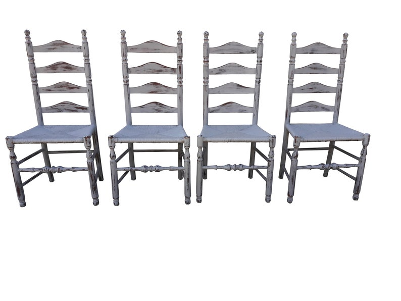 5e5996beb Vintage Farmhouse Ladder Back Chairs Set of 4 Gray Cottage