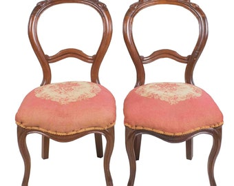 Antique Pair French Needlepoint Balloon Back Chairs Shabby Victorian Carved Dining  Chairs
