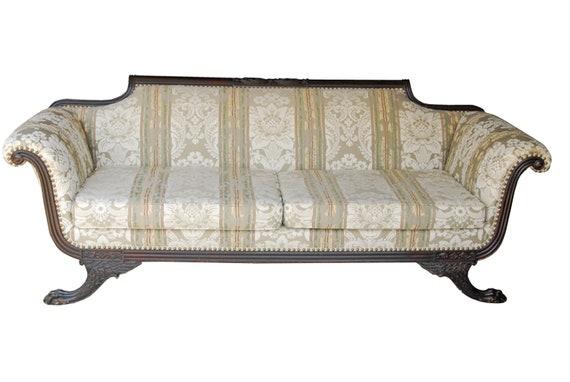 image 0 - 1860 Antique Philadelphia Federal Sofa Claw Foot Empire Duncan Etsy