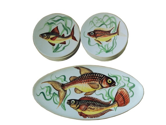 French faience fish service hand painted platter and etsy