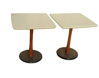 Pair Mid Century Modern Saarinen Style Tulip Base Teak Side Tables