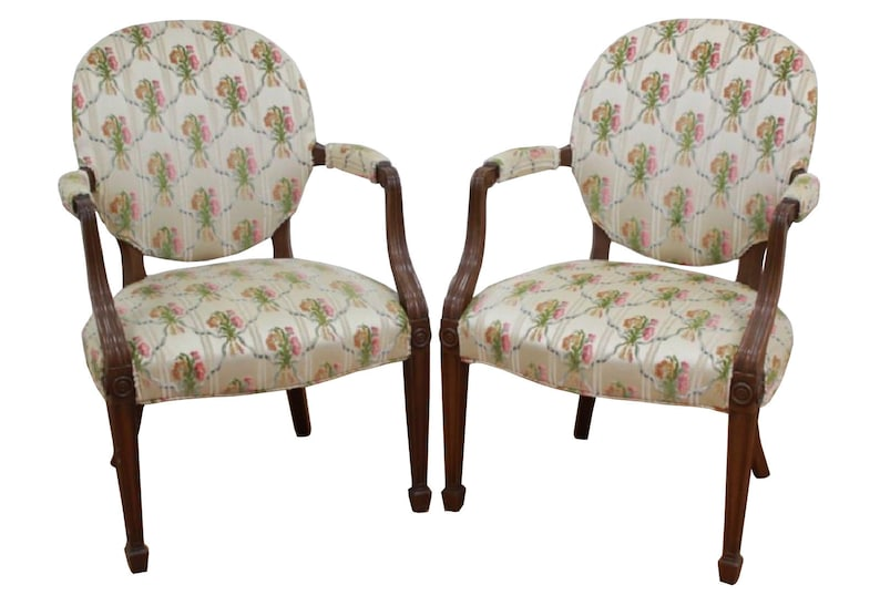 Pair English Style Mahogany Armchairs Vintage Pair French Etsy