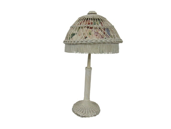 Vintage Wicker Table Lamp Shabby Cottage White Wicker Lamp Etsy