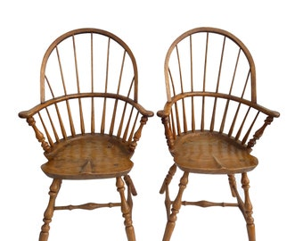 Antique Pair Bow Back Windsor Armchairs Rustic Hand Made Pair Oak Windsor  Chairs Farmhouse Hand Crafted New England Armchairs