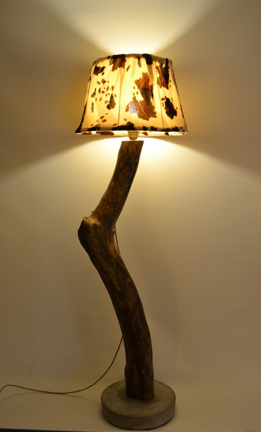 Wooden Floor Lamp With Abajour Etsy