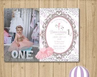 princess invitation, tutu, ballerina, purple, fuscia, printable, photo, one, 1st birthday, glitter, pink, gold   - JPEG/PDF