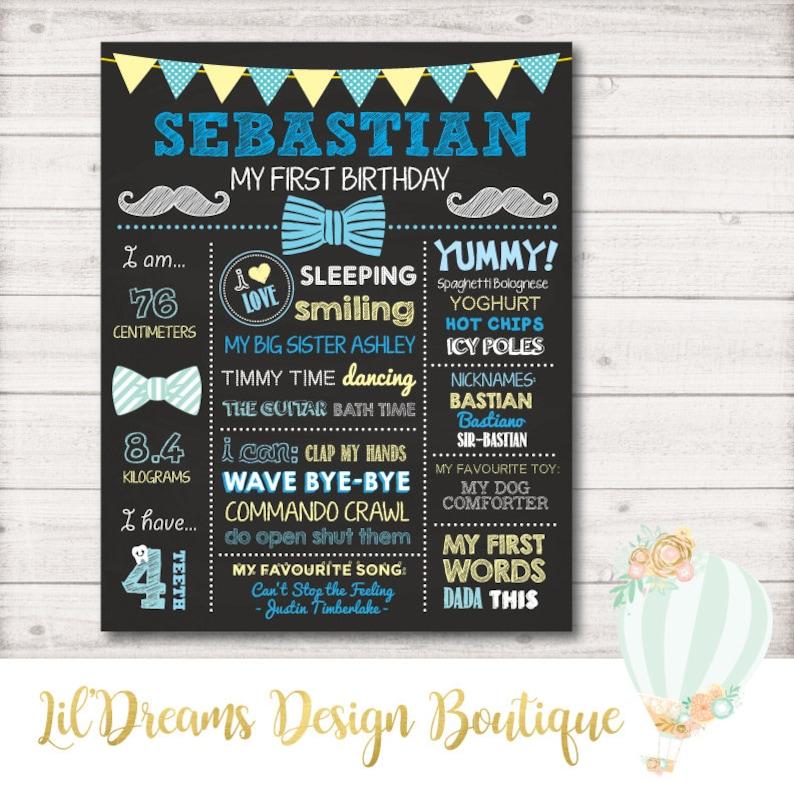 First Birthday Chalkboard Sign Blue Poster Printable Yellow First Birthday Bow Tie Little Man Digital 1st Birthday Lil man