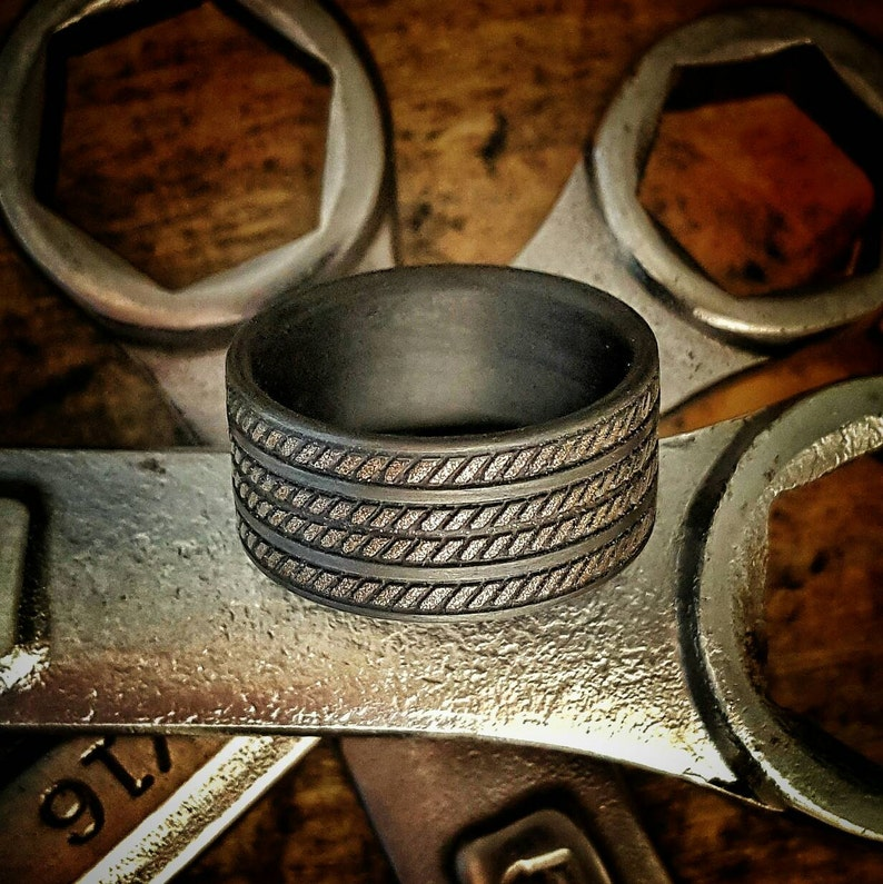 Rock Crusher, 10mm wide, Bronze Inlay, Carbon Fiber Ring  Strong, Light  Weight, Wedding Ring, Comfort fit, Durable Finish