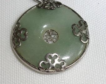 Jade Sterling Filigree Antique