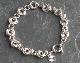 Sterling silver Mobius flower chainmaille bracelet