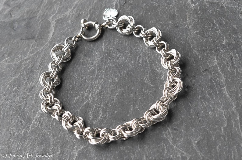 Mobius flower chainmaille sterling silver bracelet