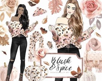 Blush & Spice Clip Art | Fall Fashion Animal Prints Rose Gold Glitter Graphic Resources | Planner sticker Digital Cliparts