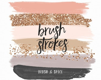 Fall Brush Strokes Clip Art |Hand Painted Blush Spice Neutral Palette Rose Gold Glitter Foil | Digital Planner Stickers Graphic Resources