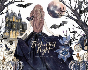 Enchanted Night Clip Art Halloween Dark Fairytale Fashion illustration Girl Moon Pumpkin Castle Graphics Planner Stickers, Digital Cliparts