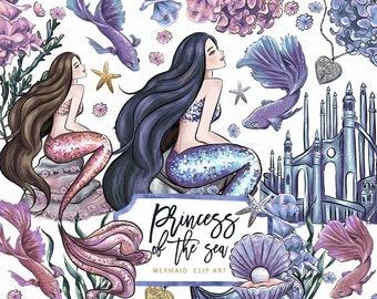 Princess Of the Sea Clip Art Mermaid Underwater Fish Starfish Castle Fantasy Illustration Graphics Planner Stickers, Digital Cliparts