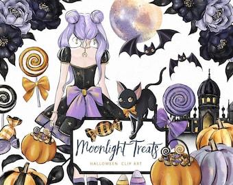 Moonlight Treats Clip Art Halloween Moon Cat Bat Pumpkin Sweets Candy Castle Illustration Graphics Planner Stickers, Digital Cliparts