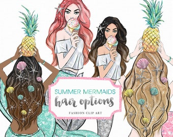 Summer Mermaid Fashion Girl various hair colors Illustration, woman, planner stickers, graphics  resources, cliparts, watercolor hand drawn