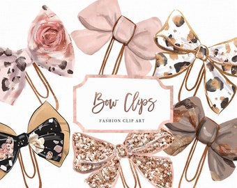 Blush & Spice Bow Paper Clip Planner Graphic | Rose Gold Leopard Pirnt Glitter Hand Drawn Graphic Elements Digital Planner Die Cut