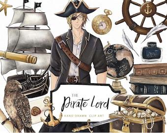 Pirate Lord Clip Art Captain Ship Eagle Academia Books Treasure Map Sword Sea Boy Illustration Graphics Planner Stickers, Digital Cliparts