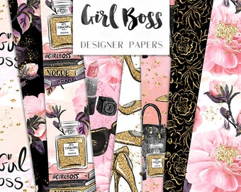 Girl Boss Digital Paper Book stack Make up Flowers Pack Fashion Seamless Pattern | planner stickers, graphics  resources, Fabric, Backdrop