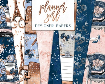 Planner Girl Digital Paper Pack Fashion Girl Boss Graphics Books, coffee Patterns | planner stickers, graphics  resources, Fabric, Backdrop