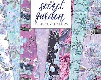 Secret Garden Digital Paper Books Tea Flowers Pack Fashion Seamless Pattern | planner stickers, graphics  resources, Fabric, Backdrop