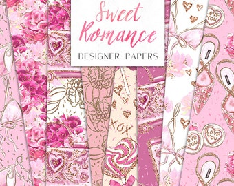 Sweet Romance Digital Paper Pack Fashion Hearts Shoes Flowers Seamless Pattern | planner stickers, graphics  resources, Fabric, Backdrop