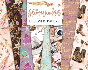 Travel Digital Papers | Glam Wanderer Camera Feathers Flowers Gold Foil Glitter Patterns | planner stickers, graphics  resources, Fabric
