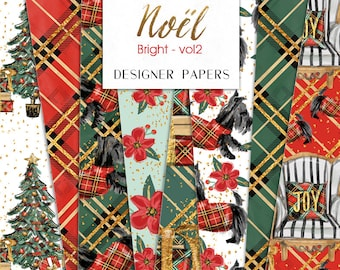 Christmas Digital Paper Pack Fashion Couture Plaid Tree Cozy Holidays Pattern | planner stickers, graphics  resources, Fabric, Backdrop