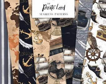 Pirate Lord Digital Papers | Sail Ship Eagle Treasure World Map Academia Boy Seamless Surface Patterns | planner stickers, graphics, Fabric