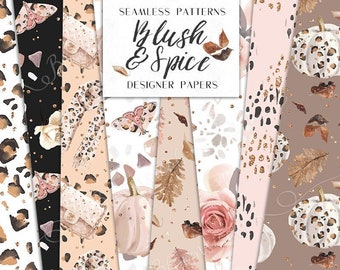 Fall Digital Papers | Animal Print Blush & Spice Leopard Autumn Seamless Surface Patterns | planner stickers, graphics  resources, Fabric