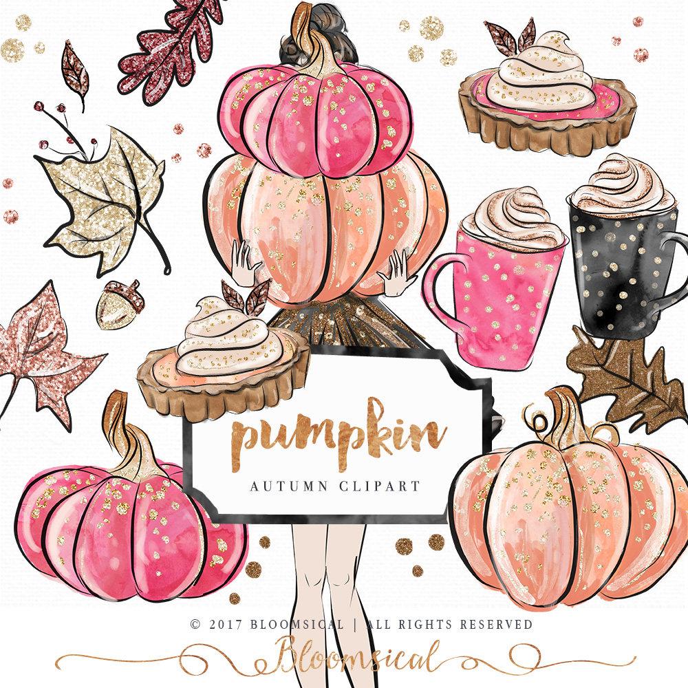 Pumpkin Clip Art Hand Drawn Autumn leaves Fashion | Etsy