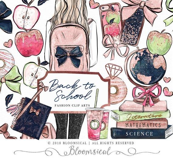 Schule Clip Art Fashion Madchen Rucksack Bogen Bucher Apple Etsy