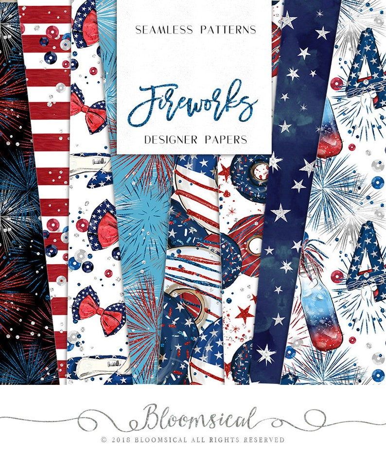 e7c48c2d9 4th of July Digital Papers Red Blue Stars Stripes Fireworks | Etsy