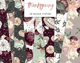 Thanksgiving Digital Papers | Fall Pumpkin Turkey Seamless Surface Patterns | planner stickers, graphics  resources, Fabric