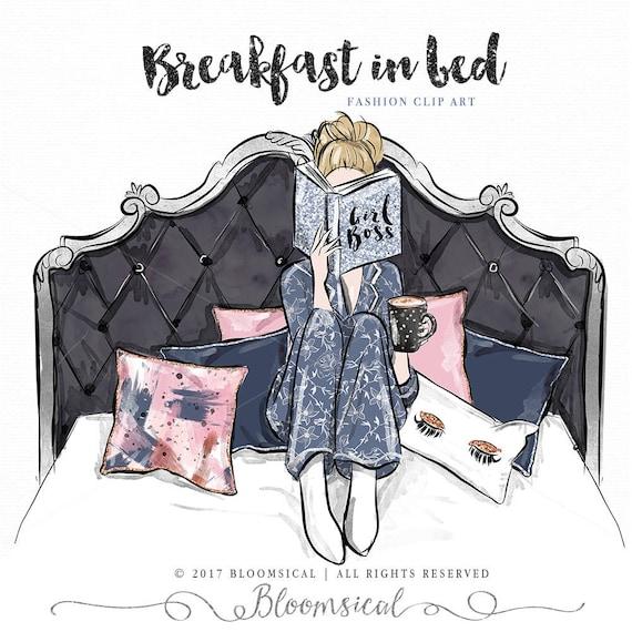 Fruhstuck Im Bett Madchen Clipart Mode Illustration Madchen Etsy