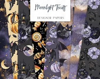 Halloween Digital Papers | Moonlight Treats Pumpkin Cat Bat Moon Castle Seamless Surface Patterns | planner stickers, graphics, Fabric