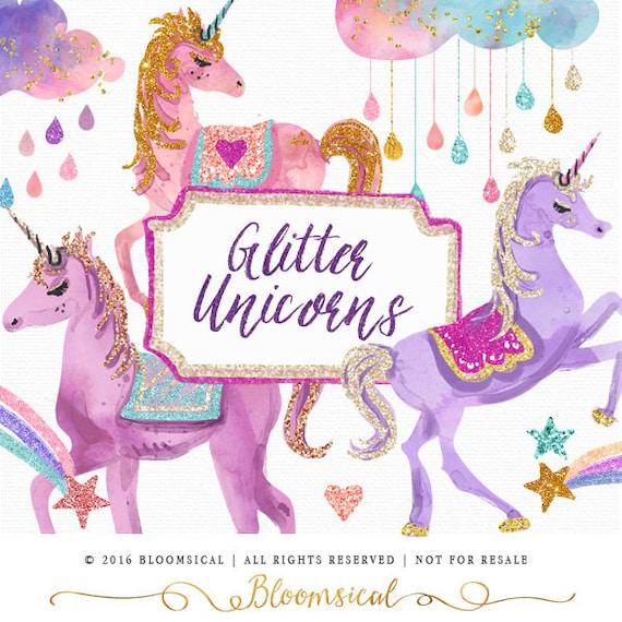 Arte Di Clip Di Unicorni Glitter Unicorno Di Glam Nuvole Etsy