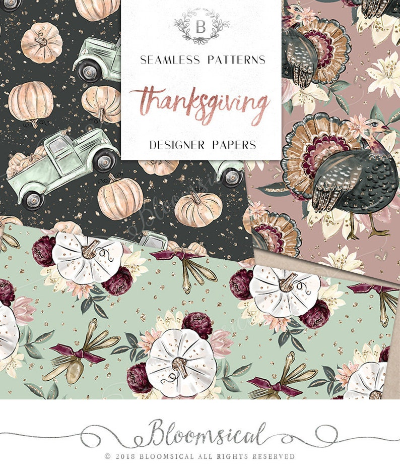 graphics  resources Fabric planner stickers Fall Pumpkin Turkey Seamless Surface Patterns Thanksgiving Digital Papers
