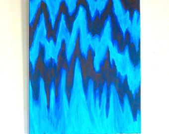 True Bluish, Original Acrylic Abstract Painting, 16x20""
