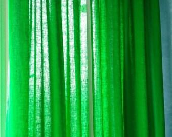 Green Linen Curtain Pleat Drapery Panel - Custom color