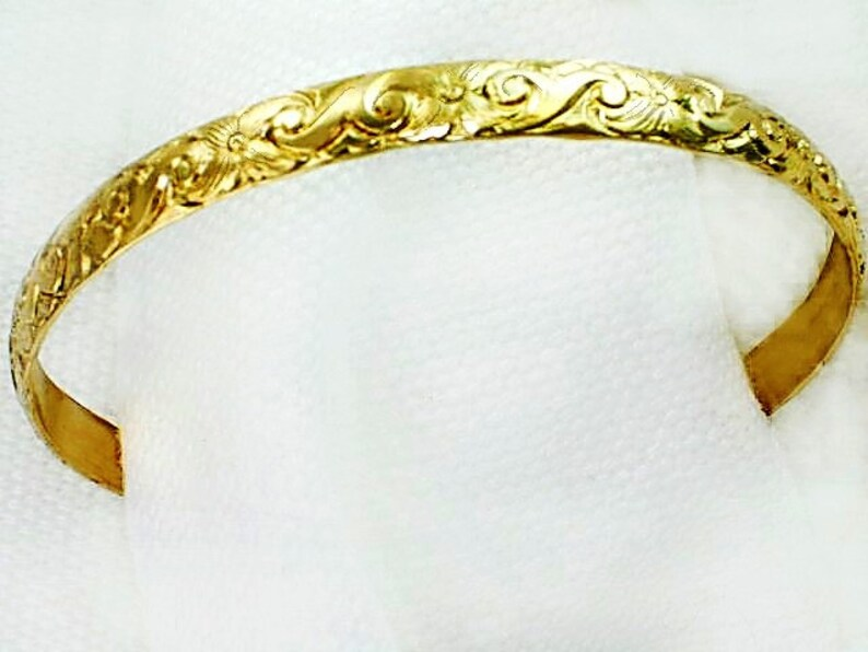 44692fb1f6a M Hawaiian Floral Gold Bangles / 2.5inch Diameter / Genuine 1/20 -14k  yellow gold filled /Slip on /Rigid plumeria gold bangles