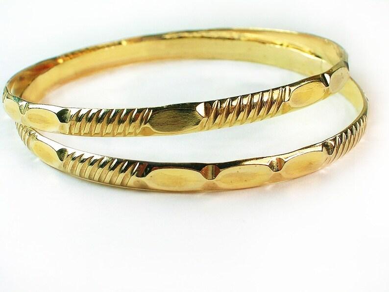 c03ac5e3336 Girls Gold Bangles - BOGO - buy one get other bangle free / 1/20 -14k gold  filled / 2 inch Diameter/ Girls gold bangles