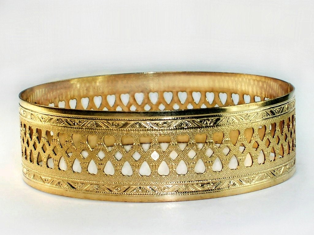 3467f6e873b Open work Hearts gold bangles / Flowers bangle /.75 inch wideband bangle/  Genuine 1/20 -14k gold filled / Hawaiian - Valentine gold bangles