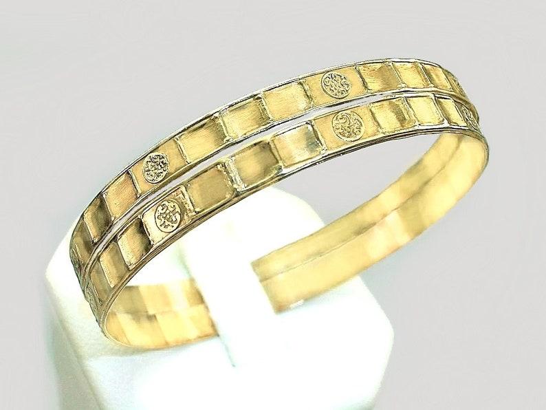 d2b0e858bd0 One Pair of Newborn baby girl Gold Bangles/ Genuine 1/20 -14k gold filled /  1.60inch diameter / Unique design Infant baby girl mini bangle